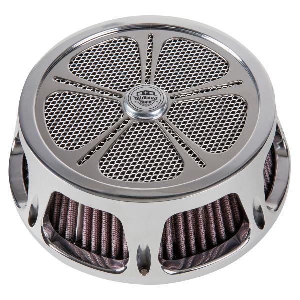 Midland Luftfilter Spinner chrome & schwarz